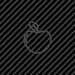 apple, line, outline, school icon