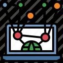 book, computer, monitor, reading, screen icon