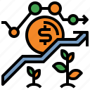 bank, business, dollar, money, plant icon