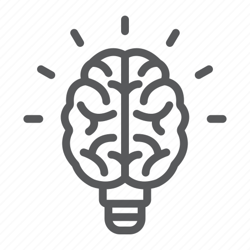 brain, bulb, education, knowledge, light, school icon