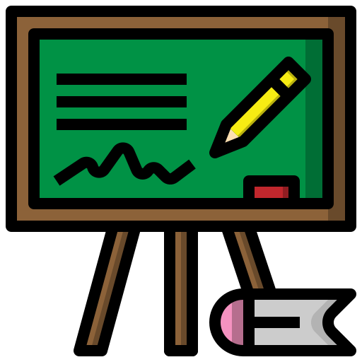 blackboard, board, chalk, class, educational, materials, school icon