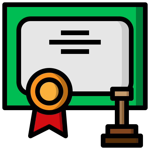 certificate, certified, contract, diploma, guarantee, patent, qualification icon