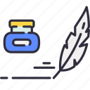 feather, ink, pen, quill, tint, write icon