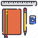 book, eraser, note, pencil, ruler, school, stationary icon