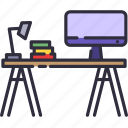 book, desk, school, study, table, work icon