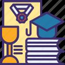 cap, certificate, certification, degree, diploma, graduation icon