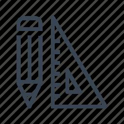 geometry, pencil, set, square icon