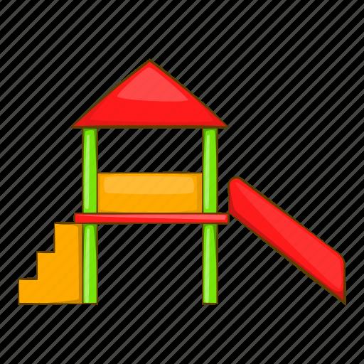 cartoon, house, line, play, playground, red, slide icon