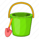 beach, bucket, cartoon, pail, sand, shovel, toy icon