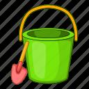 beach, bucket, cartoon, pail, sand, shovel, toy