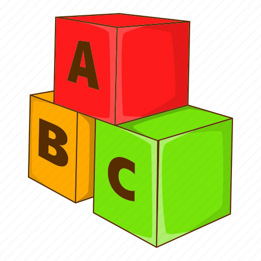 cartoon, cube, education, game, letter, play, toy icon