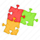 business, cartoon, concept, idea, jigsaw, piece, puzzle icon