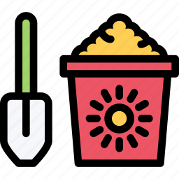 bucket, child, childhood, learning, sand, school, university icon