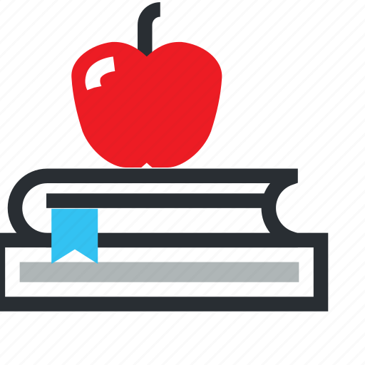 apple, book, learn, learning, library, school, study icon