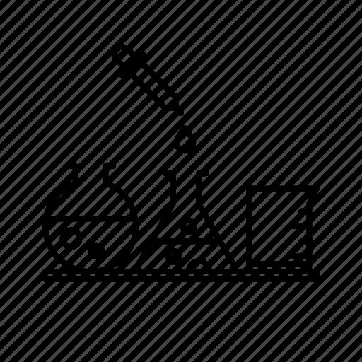 beakers, funnel, jar, lab, science icon