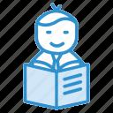 avatar, book reading, graduated, graduated student, student, university icon icon