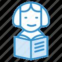 avatar, book reading, career, school, teach, teacher icon icon