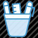 geometry, pencil box, pencil case, pencil pot, stationery icon icon