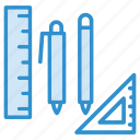 geometry, pencil, protractor, ruler, tools icon icon