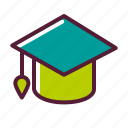 education, graduation, hat, plasticons icon
