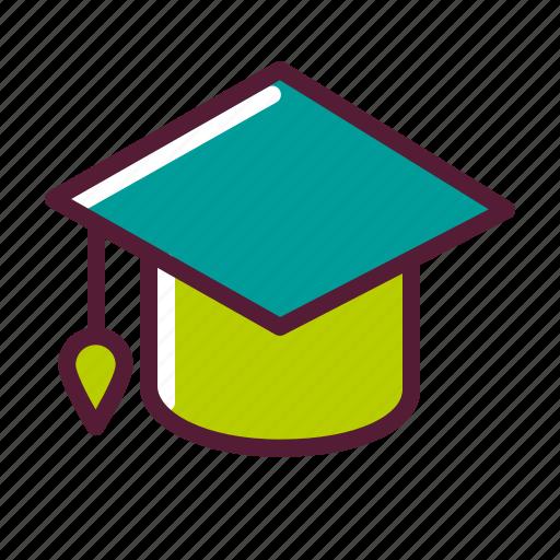 education, graduation, hat, plasticons icon