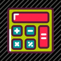 calculator, education, plasticons icon