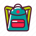 backpack, education, knapsack, plasticons icon