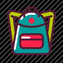 backpack, education, knapsack, plasticons icon