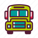 bus, education, plasticons, school, transportation icon