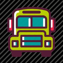 bus, education, plasticons, school, transportation icon