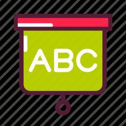 alphabet, education, plasticons, white board icon