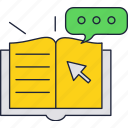 book, click, education, electronic, online, school icon