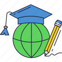 education, globe, knowledge, wordwide icon