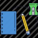 notebook, pencil, school, sharpener icon