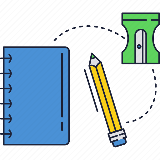 notebook, pencil, school, sharpener icon