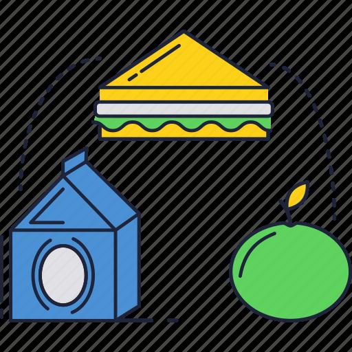 education, food, lunch, school icon