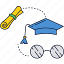 diploma, education, glasses, graduation, school, university icon
