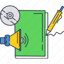 disk, education, loudspeaker, notebook icon