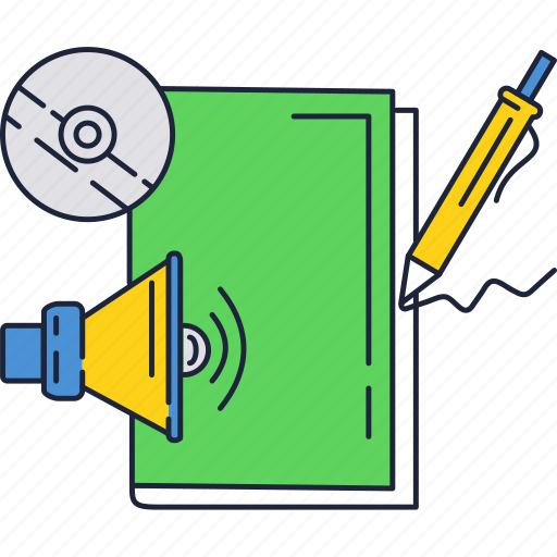 disk, education, loudspeaker, notebook icon