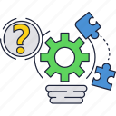 bulb, gears, light, mark, puzzle, question icon