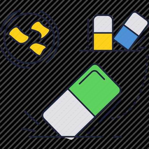 accessories, eraser, school icon
