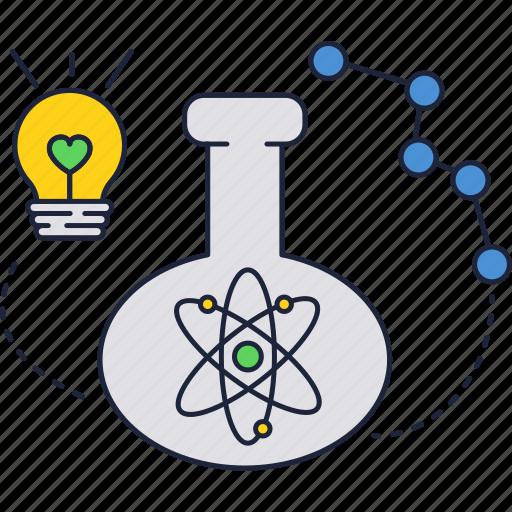 atom, bulb, flask, light icon