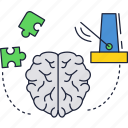 brain, metronome, puzzle icon