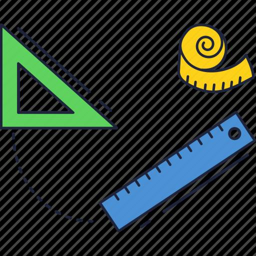 ruler, school, set, square, triangular icon