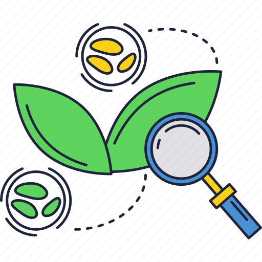 biology, green, magnifier, plant icon