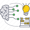 brain, bulb, chip, connection, light, neurointerface icon