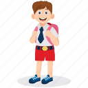 boy uniform, male student, schoolboy, student, student illustration icon