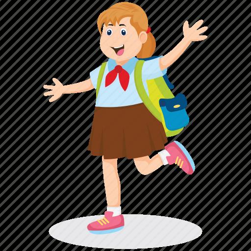achieving goals, happy student, schoolgirl, student, student running icon
