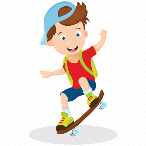 active student, good health, happy student, riding skateboard, schoolboy playing icon