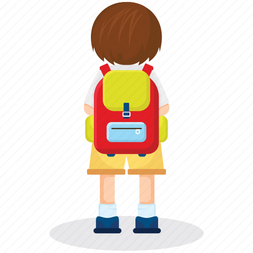 backpack, backside view, female student, school girl, students bag icon